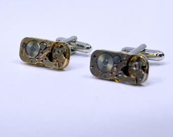 Stunning rose gold watch movement cufflinks ideal gift for a wedding, birthday or anniversary