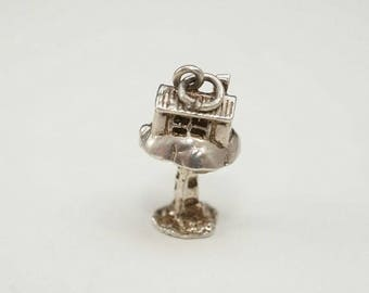 ON SALE Amazing Vintage English Sterling Tree House Charm (Opens to reveal Pixie)