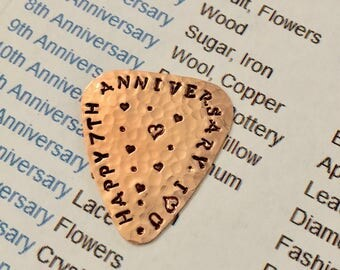 Happy 7th Anniversary I Love You - Guitar Pick - Solid Copper - 7 Years - Useful Gift - Copper Anniversary - Plectrum - Rustic Pick