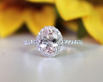 white gold ring, Oval Morganite Halo Engagement Ring/ white gold diamond ring