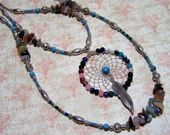 Southwestern Dream Catcher Pendant Necklace, Semi Precious Stone Beads, Amethyst, Tigers Eye, Carnelian, Quartz, Sodalite  417
