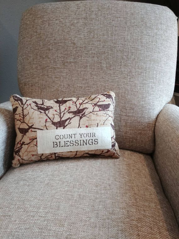 decorative bird burlap pillow with count your blessings