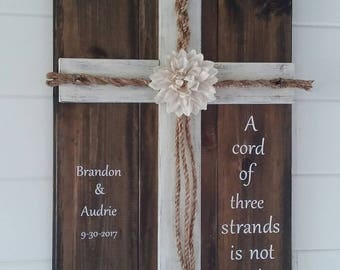 Wedding Cross, Unity Cords, A Cord of Three Strands, Ecclesiastes 4:12, 3 Feet x 20.75 Inches