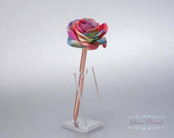Rainbow Rose Guestbook Pen. Rose Gold Wedding Pen Set, Wedding Pen Holder, Real Touch Rose Flowers, Colorful. Tea Rose Collection