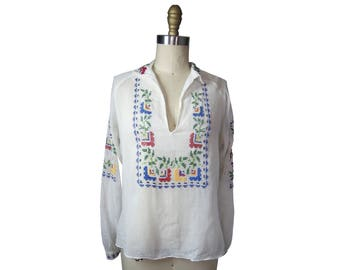 1930s Hand Embroidered Cotton Voile Bohemian Tunic Blouse