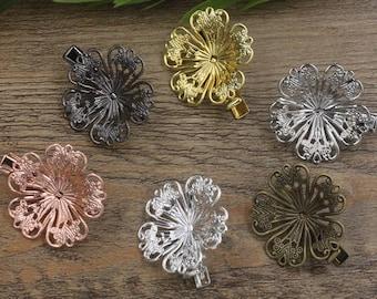 10 Brass Alligator Hair Clips W/ 32mm Filigree Floral Antique Bronze/ Silver/ Gold/ Rose Gold/ White Gold/ Gun-Metal Plated- Z7305