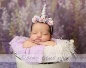 Newborn Unicorn Headband - Lavender and Pink - Baby Mini White Unicorn Horn