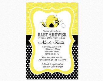 Bumble Bee Baby Shower Invitation, Yellow, Black, Polka Dots, Gender Neutral, Personalized, Printable or Printed