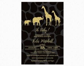 Safari Baby Shower Invitation, Gold Safari Baby Shower Invitation, Safari Theme Baby Shower, Gender Neutral, Printed or Printable