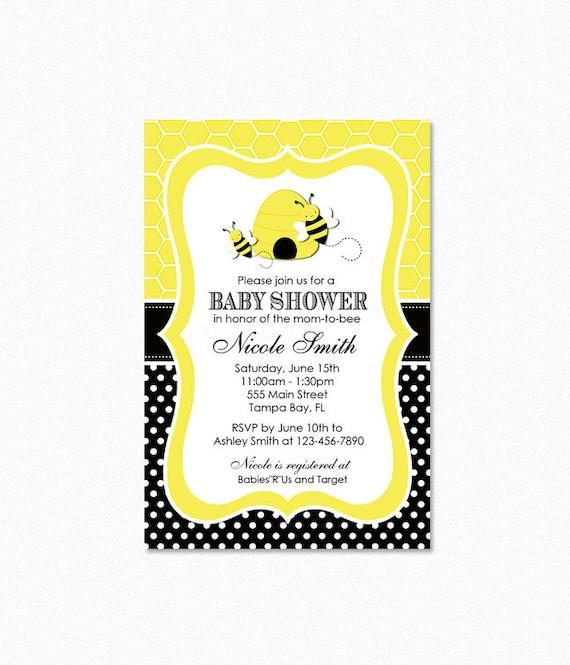Bumble Bee Baby Shower Invitation Yellow Black Polka Dots