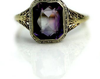 Antique Amethyst Engagement Ring 2.50ctw 1930 Two Tone Vintage Amethyst Gemstone Engagement Alternative Ring Cocktail Ring February Birthday