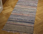 Swedish Rag Rug. Vintage Striped Hall Runner . Bedside Rug.  Kitchen Mat