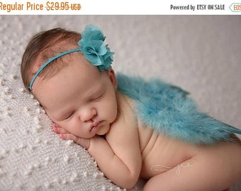 ON SALE Turquoise feather wing set, wings and headband, newborn photo prop, baby wings, many colors available FREE Shipping