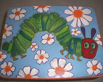The Roly Poly Green Caterpillar Child Kids Step Stool Hand Painted