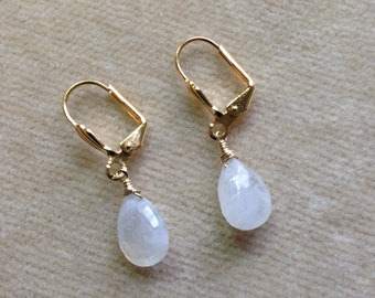 Moonstone Briolette, Gold Filled Leverback Earrings 1170