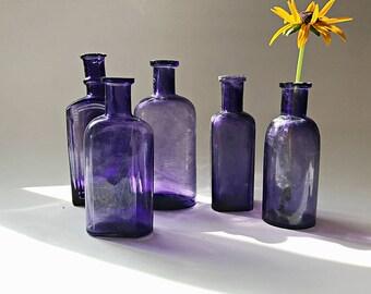 5 Vintage Purple Bottles Purple Glass Bottle Collection  Rustic Old Bottles Violet Apothecary Medicine Bottles