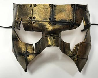 Handmade Genuine Leather Mask in Black and Gold for Masquerades Halloween or Cosplay Costume - Riveted
