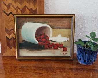 Vintage Oil Painting, Strawberries in a Crock, summer kitchen