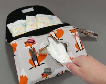 Diaper & Wipe Clutch in Grey Foxes Fabric, Mini Diaper Bag, Diaper Clutch, Nappy Case, Travel Small Diaper Bag, Nappy Bag, Fox Diaper Bag