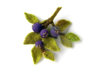 Blueberries  Felted  Brooch Nuno Felted brooch - Ready to Ship Now - Gift for her under 30 USD