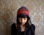 The Bliss Beanie in Cherry Sunset // Thick Winter Warm Cozy Knit Crochet Handmade Slouch Baret Beanie