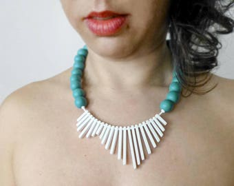 Handmade contemporary bib necklace, white turquoise geometric minimalist jewelry