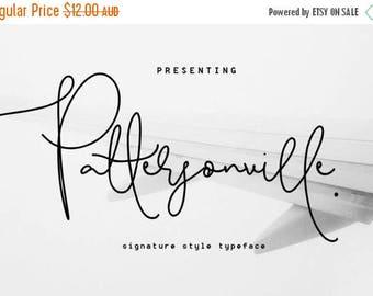 Digital Fonts 80% Off SALE Pattersonville Script Font, Hand drawn Wedding Font, modern Calligraphy, Signature Typeface, Hand Written font