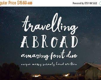 80% OFF Digital Font Duo, Travelling Abroad, Script font, Wedding font, Logo fonts, Hand drawn, Hand written