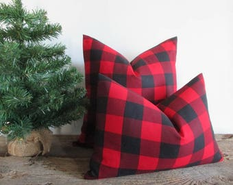 Pillow Cover Buffalo Plaid Black and Red Woven Buffalo Check Both Sides Zipper Opening New F/W 2017