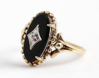 Vintage Onyx Ring - 10k Rosy Yellow Gold Genine Diamond Black Onyx Statement - 1950s Size 8 3/4 Oval Chalcedony Gemstone 50s Fine Jewelry