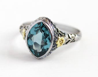 Art Deco Ring - Vintage 10k White & Yellow Gold Created Blue Spinel Statement - Size 5 Antique Filigree 1920s Marquise Flower Fine Jewelry
