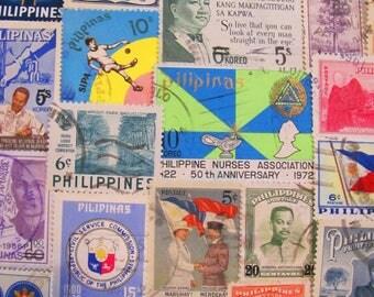 Pinoy Pinay 50 Vintage Filipino Postage Stamps Philippines Pilipinas Austronesian Asia Tagalog Manila Oriental Asian Worldwide Philately