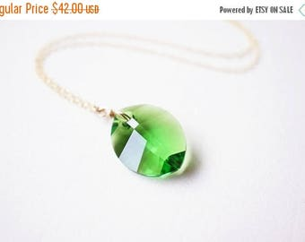 SALE Necklace, Leaf Necklace, Botanical Necklace, Green Necklace, Gold Necklace, Crystal Necklace, Greenery, Handmade Necklace, Gift for Her