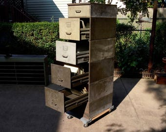 Vintage Stacking Metal File Cabinets / Massive Distressed Rusty Metal File Drawers / Storage Organization / PICK UP only SALE