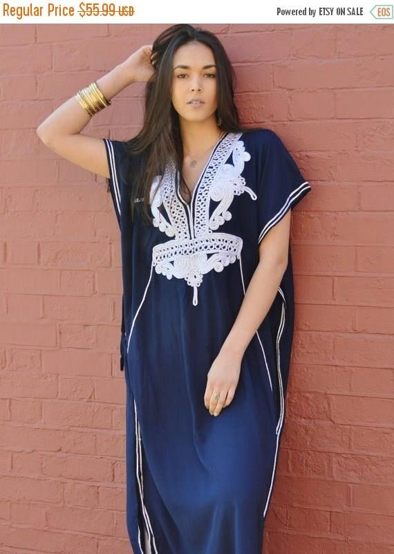 25% OFF Autumn Sale// Navy Blue with Silver Boho Marrakech Resort Caftan Kaftan -beach cover ups, resortwear,loungewear,maximbirthdays, hone