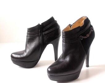Women's Vintage SLS High Heel Platform Black Real Leather Ankle Boots Size UK5 EU38