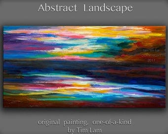 "Sale Original Texture art wall Art abstract painting huge art Impasto art oil painting modern art canvas Home art Decor by Tim Lam 48"" x 24"""