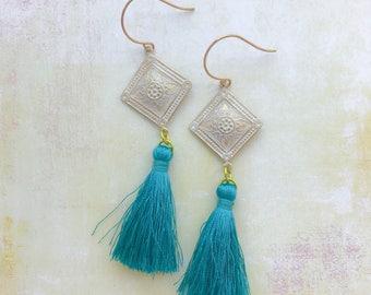 Dark Turquoise Blue Tassel Earrings Dangle Earrings Teal Silk Tassels Gold Brass Lime Green Accents Vintage Style Lightweight Under 25