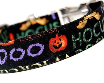 Custom Handmade Dog Collar - Hocus Pocus - Spooky Dog Collar for Halloween with Pumpkins Bats Jack o Lantern Purple and Black Collar