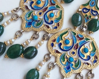 FREE SHIPPING  Tsarina  EARRING russian vintage antique inspired enameled gold emerald  pearl hand crafted artisan jewelry