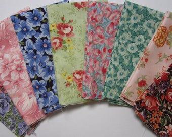 8 Assorted Floral Calico Cotton Fabric Scraps, Fat Sixteenths, Calico Stash Builder, Destash, Quilting, Sewing