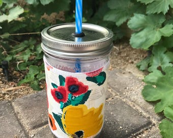 Poppies sleeve straw lid DIY mason jar tumbler