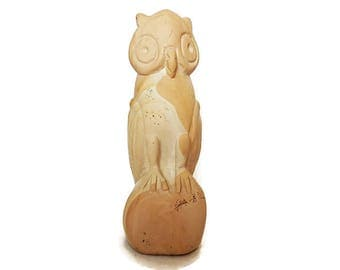 Hand Carved Stone Owl, Mid Century Stone Owl Sculpture, Collectible Owl Figurine