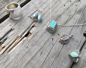 Destash Sterling Silver, Turquoise, and Mother of Pearl Jewlery Entire Parcel Shown