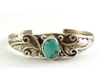Native American Sterling Silver & Turquoise Child's Infant's Cuff Bracelet, Eagle Feathers