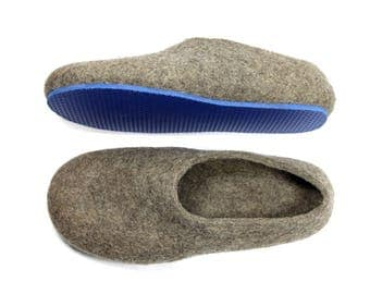 Adult Felted Slippers Organic Wool Cappuccino Hygge Custom color Rubber soles, Warm slippers, Husband Gift for Wife, House Slippers, Slip On