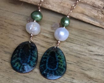 Large Pearl Enamel Peacock Feather Vintage Embroidery Dangle Earrings Rose Gold
