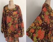 FALL SALE 1970's Floral Bell Sleeve Tunic Size Large XL Xxl by Maeberry Vintage