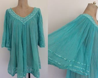1970's Turquoise Gauzy Top w/ Bell Sleeves Vintage Blouse Size Small Medium Large XL by Maeberry Vintage