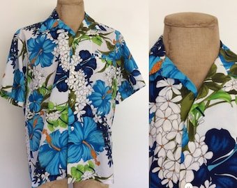 1970's Mens Hawaiian Polyester Button Up Blue & White Floral Shirt Size XL XXL by Maeberry Vintage
